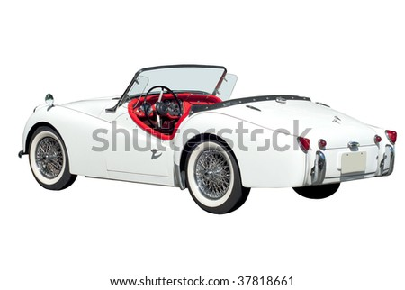 White vintage car isolated on white - stock photo