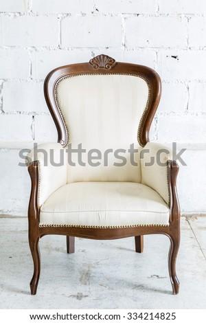 White Vintage classical farbirc style Chair - stock photo
