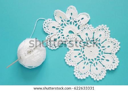 White Vintage Crochet Doily Cotton Yarn Stock Photo Royalty Free
