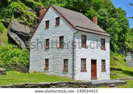 White Vintage House at Harpers Ferry Town in West Virginia, USA - stock photo