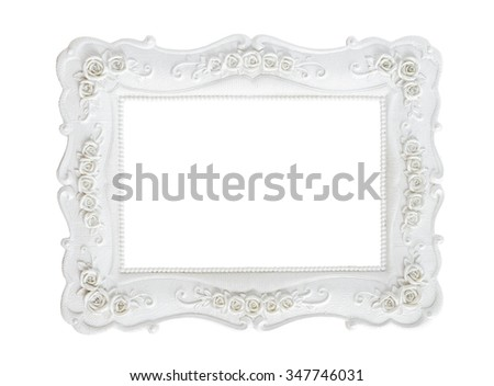 White vintage photo frame isolated on white background, save clipping path. - stock photo