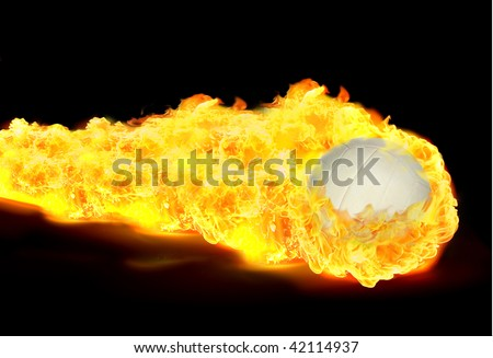 White Volley ball in flames on black background - stock photo