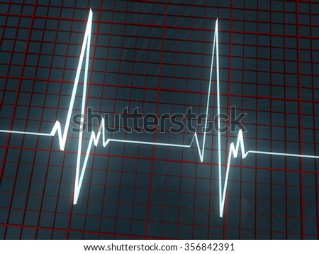 white volume cardiogram and red grid on dark background - stock photo