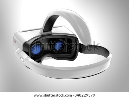 White VR headset isolated on gray background. 3D rendering image with clipping path. Original design. - stock photo