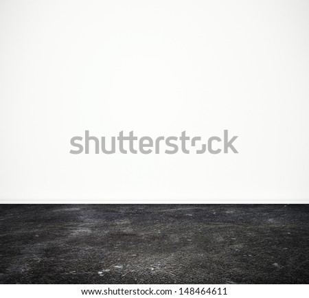 white wall and black floor - stock photo