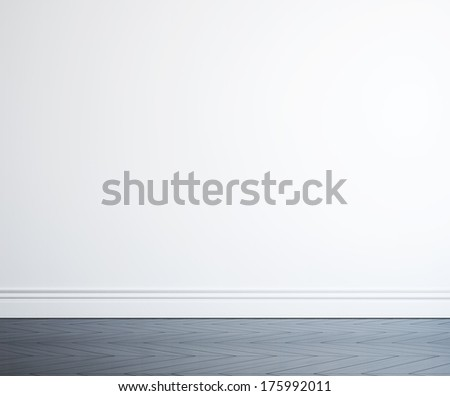 white wall and black wood floor - stock photo