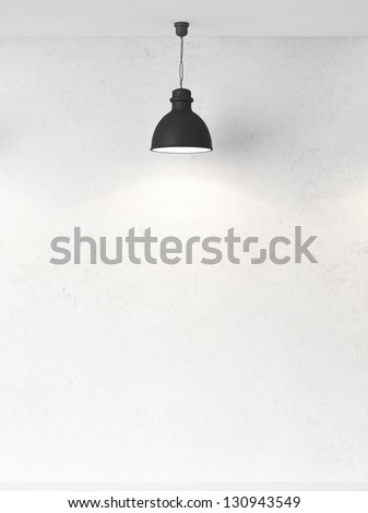 white wall and ceiling lamps - stock photo
