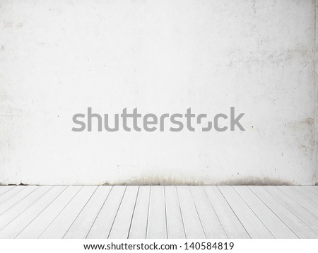 white wall and floor background - stock photo