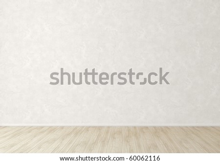 White wall and light floor - stock photo