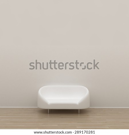White wall interior with white sofa.  Home living. May be used for your graphic design, art or illustration.