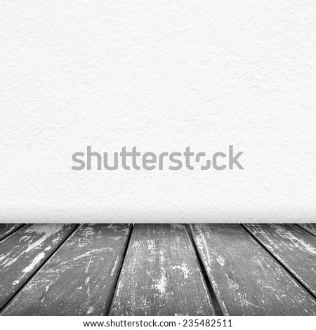 white wall texture background with wood floor gray color