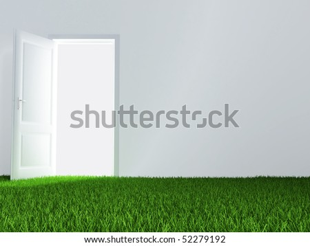 white wall, unclosed door and juicy green lawn - stock photo