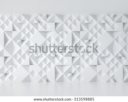 white wall with geometric 3d pattern - stock photo