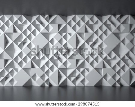 white wall with geometrical 3d pattern - stock photo