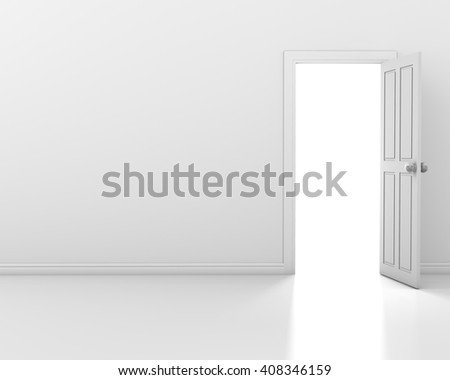 white wall with opened white door 3d rendering - stock photo