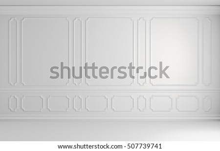 White wall with white decorative moldings elements on wall in classic style empty room, classic style non-color colorless architectural background 3d illustration interior