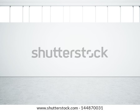 white wall with windows - stock photo