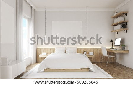 White Walls Bedroom Interior With Study Corner, Large Window, Two Posters  And A King