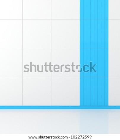white walls with blue tiles - stock photo