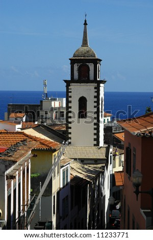 White washed clock tower in Funchal, Madeira Islands - stock photo
