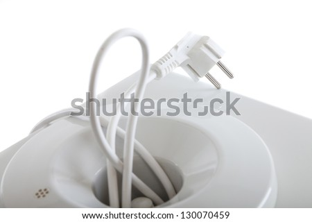 White water cooler input and AC kabel,  for concepts such as natural resources, energy, refreshment. Close up. - stock photo