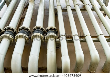 White water pipes - stock photo