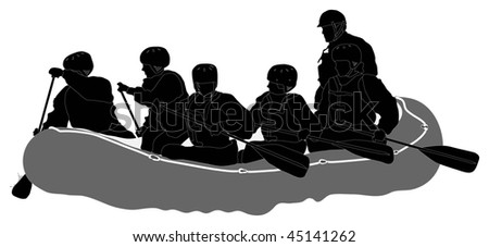 White water rafters - Silhouette - stock photo