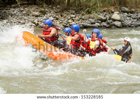 WHITE WATER RAFTING TEAM IN BRIGHT SUNLIGHT, PASTAZA RIVER, ECUADOR, SANGAY NATIONAL PARK