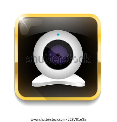 white webcam icon With long shadow over app button - stock photo