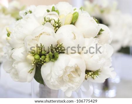 White wedding bouquet in vase - stock photo