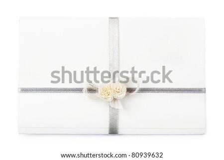 White wedding invitation, on white background. - stock photo