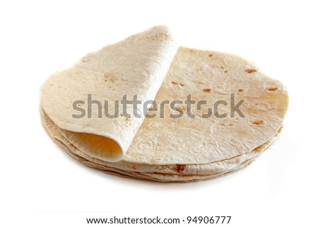 White wheat flour tortillas isolated on white background - stock photo