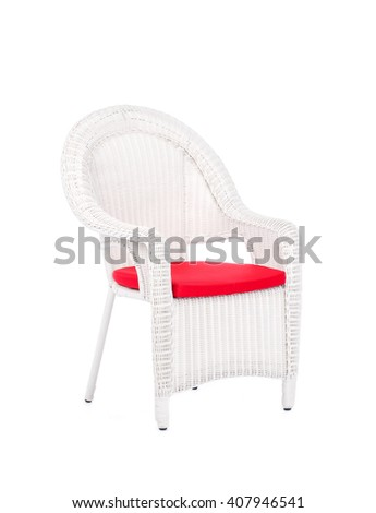 White wicker rattan chair, isolated on a white background. - stock photo