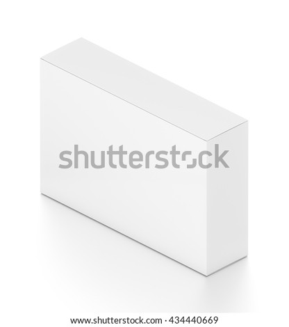 White wide horizontal rectangle blank box from isometric angle. 3D illustration isolated on white background. - stock photo