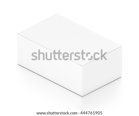White wide horizontal rectangle blank box from isometric angle. 3D illustration isolated on white background.