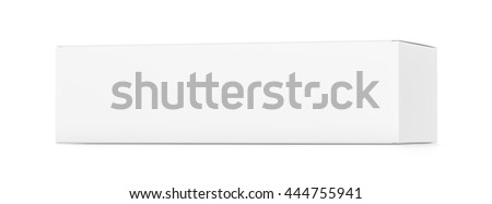 White wide horizontal rectangle blank box from side far angle. 3D illustration isolated on white background.