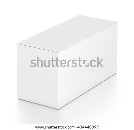 White wide horizontal rectangle blank box from top far side angle. 3D illustration isolated on white background. - stock photo