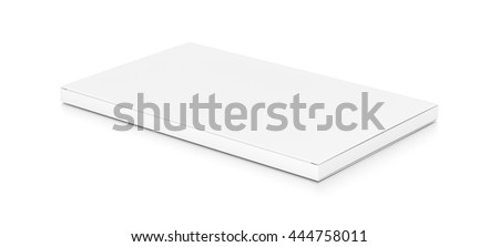 White wide thin flat horizontal rectangle blank box from top side angle. 3D illustration isolated on white background.
