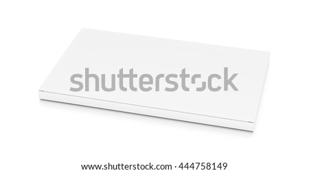 White wide thin flat horizontal rectangle blank box from top side closeup angle. 3D illustration isolated on white background.