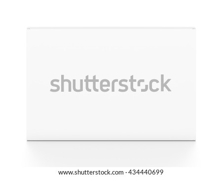 White wide thin horizontal rectangle blank box from top front angle. 3D illustration isolated on white background. - stock photo