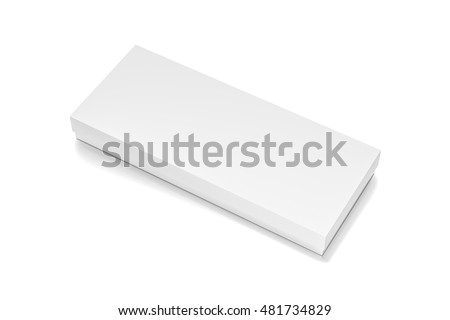 White wide thin horizontal rectangle blank box with cover from top side closeup angle. 3D illustration isolated on white background.