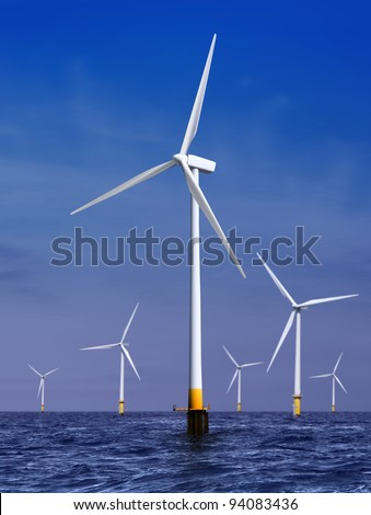 white wind turbine generating electricity on sea - stock photo