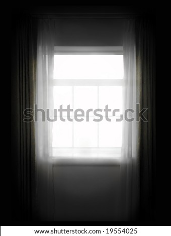 white window of the dark room - stock photo