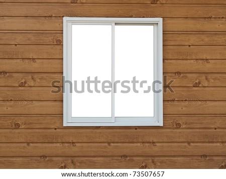White Window on wood background - stock photo