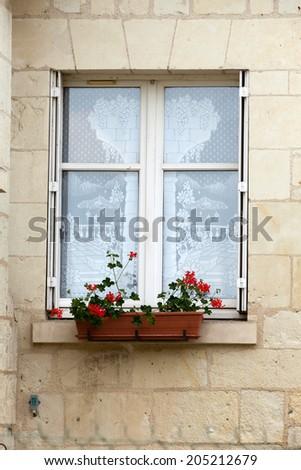 White window with flower pot - stock photo