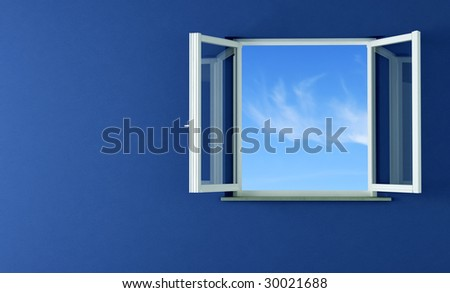 white windows opening to the blue sky- rendering