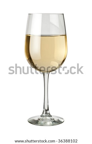 White Wine and glass isolated on white - stock photo