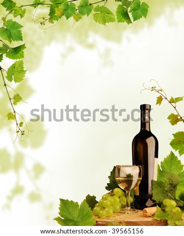 White wine and grapevine border - stock photo