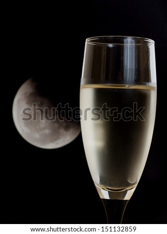 white wine and moon - stock photo
