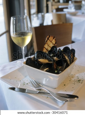 White Wine and Mussels - stock photo